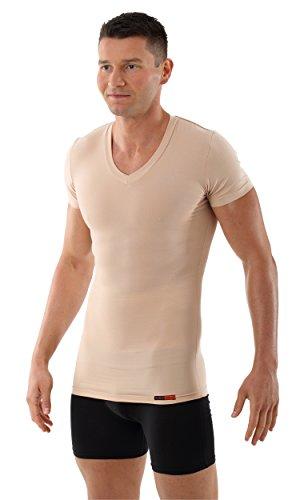 Gabbana Mode T-shirt (ALBERT KREUZ Shape-Herrenunterhemd unsichtbar Business V-Unterhemd Bauchweg-Kompressions-Shirt Kurzarm Hautfarbe Nude 6/L)