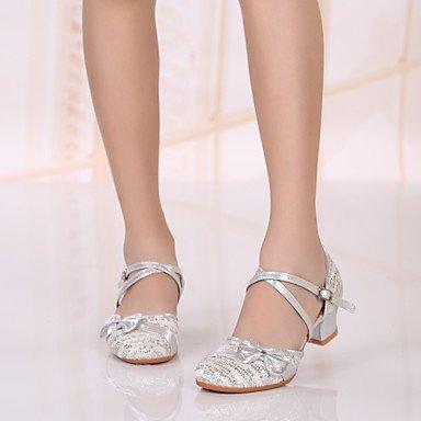 XIAMUO Anpassbare Kids Dance Schuhe Paillette Paillette moderne Heels niedrigem Absatz Indoor/Outdoor/Performance Rot/Silber/Gold Silber