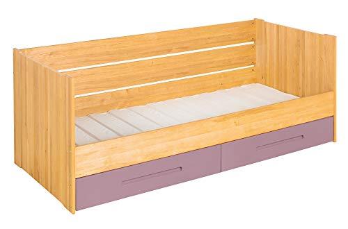 BioKinder Lina Schlafsofa Funktionsbett Kojenbett mit Lattenrost und 2 Bettkästen aus Massivholz Erle und Kiefer 90 x 200 cm, Bettkästen Flieder lasiert -