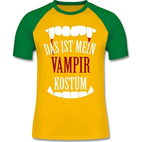 Shirtracer Halloween - Das ist Mein Vampir Kostüm - Herren Baseball Shirt Gelb/Grün