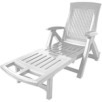 Pvc Réglable Chaise De Longue Blanc Bain Jardin Dossier Soleil 195cm Pliable dexBWroC