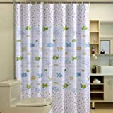 RISHIL WORLD Cartoon Fishes Printed Bathroom Curtain Waterproof Moldproof Polyester Shower Curtains and Hook