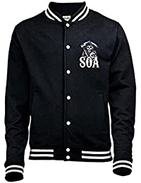 Official SONS OF ANARCHY Black VARSITY Jacket CLASSIC Reaper L