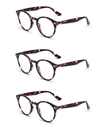 JM Runden Lesebrille Satz von 3 Qualität Federscharnier Leser Damen Herren Brillen für Lesen +2.0 Rot Schildkröte