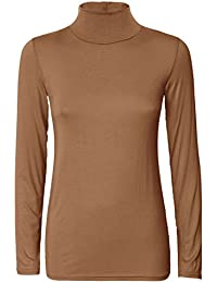 Ladies Turtle Polo Neck Long Sleeve Crop Top T-Shirt Tops