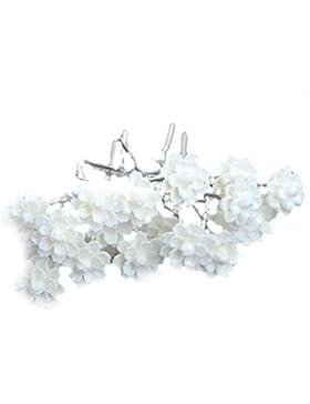 12-er Set Haarnadeln Strass Perlen Blumen Blüten Haarschmuck Hochzeit Braut Kommunion Tiara