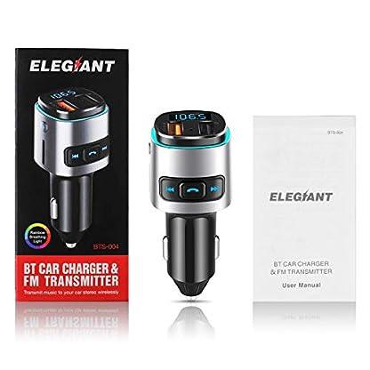 ELEGIANT-FM-Transmitter-QC-30-Bluetooth-Adapter-Wireless-Auto-Radio-Freisprecheinrichtung-V42-Bluetooth-FM-Sender-KFZ-Auto-Ladegert-mit-Dual-USB-Anschuss-USB-Stick-Mikrofon-fr-iOS-und-Android