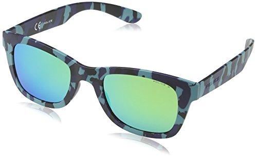 Police - occhiali da sole s1944 exchange 1 wayfarer, semi matt pale blue & dark blue camouflage frame/green mirror lens