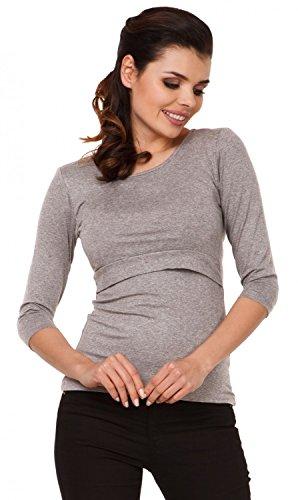 Zeta Ville - Top de grossesse ras du cou - couches d'allaitement - femme - 988c Gris Clair Mélangé