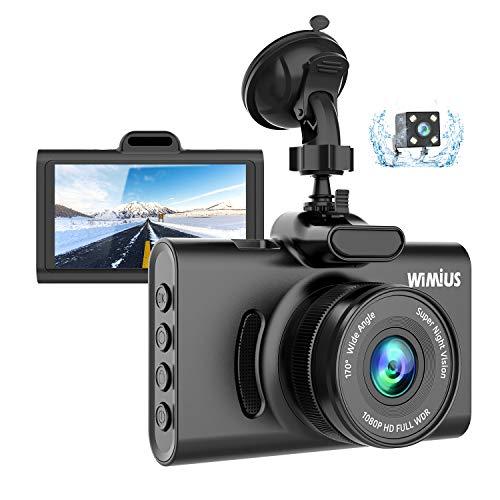 WiMiUS Dashcam Dual Auto Kamera, Super Nachtsicht Vorne 1080P Hinten 720P Full HD Auto Kam