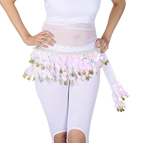 Bauchtänzerin Kostüm Weiß - Damen Bauchtänzerin Kostüm Hip Scarf Wrap Sequins Gürtel 58 Coin Chiffon Rock (One size, Weiß)