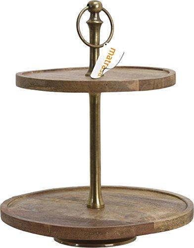 matrasa Etagere aus Holz 36 cm - 2 Etagen - Mangoholz - Messing Gestell - Holzetagere Dekoetagere