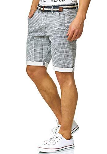Kurze Karierte Hose Regular Fit Bermudas Sommerhose Herrenshorts Short Men Pants Chinohose kurz f/ür M/änner Indicode Herren Bourchier Chino Shorts mit G/ürtel aus 98/% Baumwolle