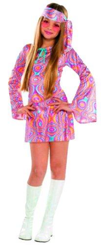Mädchen Rockstar Disco Hippie Flower Power Komplettkostüm Jugendliche + Brille, pink, 14-16 Jahre (Rockstar Kinder Kostüm)