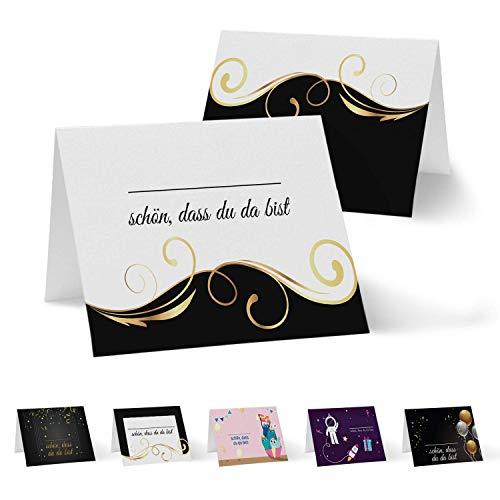 Partycards 50 Tischkarten/Platzkarten DIN A7 für Hochzeit, Geburtstag, Kommunion, Taufe (DIN A7, Schwarz Gold Welle)