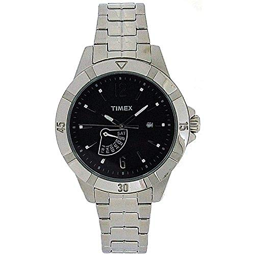 Timex analoge Herrenuhr, schwarzes Zifferblatt, silberf. Armband T2N512AU (Elegante Timex)