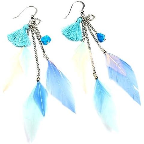 bo551e–Orecchini pendenti cuore, Pompon e multi-chaînes piume etnica blu–Moda Fantasia