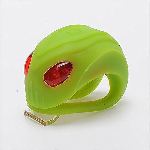 Lmeno LED Fahrrad Licht Silikon Rücklicht Wasserdichtes Bike Fahrrad Leuchten Set Hinten Lampen Taschenlampen Scheinwerfer Fahrrad Sicherheit Rücklicht Fahrradbeleuchtung 3 Modi Batterien im Lieferumfang enthalten (Red LED-Licht)-- Grün