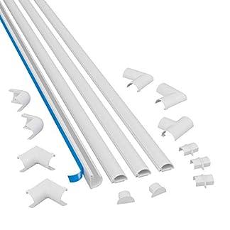D-Line Mini 3015KIT002 | Canaletas adhesivas de PVC para cables | Multipack de 4 piezas (30×15 mm) de 1 metro de longitud en color | Solución para organizar
