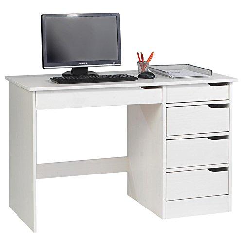 Schreibtisch HUGO Kinderschreibtisch Eckschreibtisch Schülerschreibtisch, Kiefer massiv lackiert in weiß