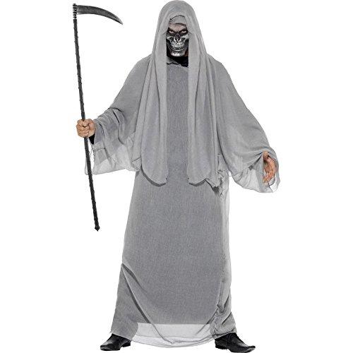 Halloween Herren Kostüm Sensenmann Dämon Skelett mit Maske (Masken Kostüme Halloween Dämon)