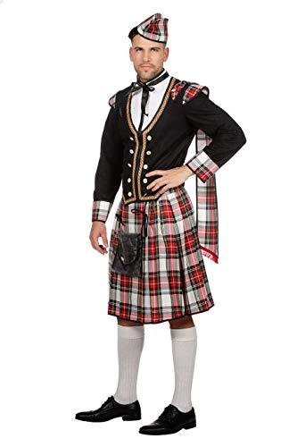 W5131-48 weiß-rot-schwarz-kariert Herren Schotten Kostüm Schotte Highlander Gr.48