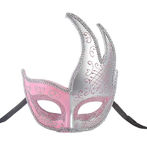 BLEVET Venezianische Damen Masquerade Maske Cosplay Kostümball Partei Karneval Ball Kostüm Mardi Gras Maske MZ073 (Pink)