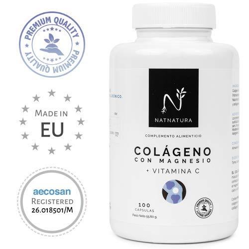 Colágeno con magnesio. Colágeno marino hidrolizado+magnesio+Ácido hialurónico+vitamina C. Potente suplemento para mantenimiento de articulaciones, cartílagos, huesos y piel. 100 cápsulas vegetales.