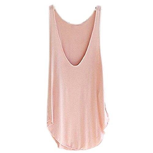 Ularma 2016 moda verano Dama de mujer sin mangas con cuello en v chaleco caramelo sueltas blusas camiseta (color de rosa, tamaño libre)
