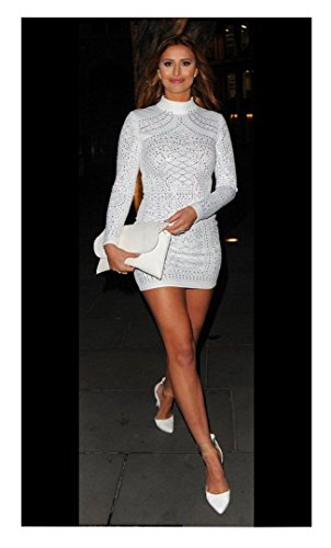 Fast Fashion - Robe Beaded Et Paillettes Embellished Manches Longues Velvet Moulante - Femmes Blanc
