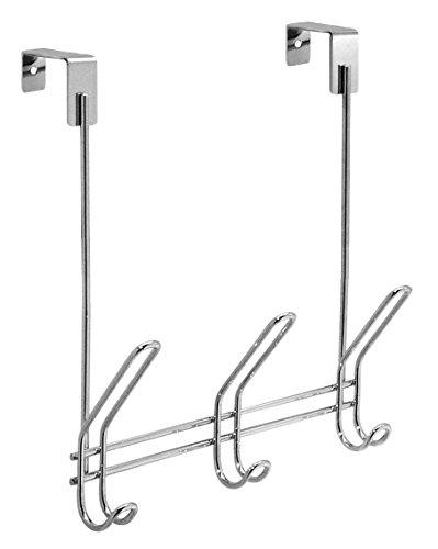 InterDesign Classico Türgarderobe mit 3 Doppelhaken, Garderobenleiste für Jacken, Hüte, Schals oder Handtücher aus Metall, silberfarben