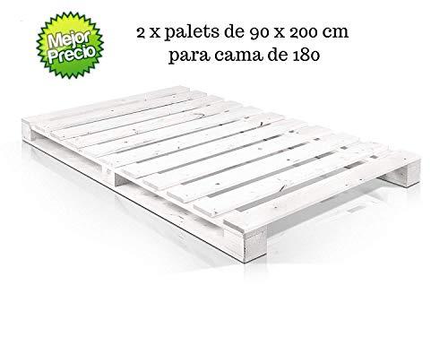 Dydaya 2 x Palets de 90x200 Pintados de Blanco de Madera para Cama de 180 x 200 & Estructura Cama 180x200