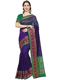 G Stuff Fashion Women Cotton Silk Saree With Blouse piece_TA-50_silver Blue Bear saree
