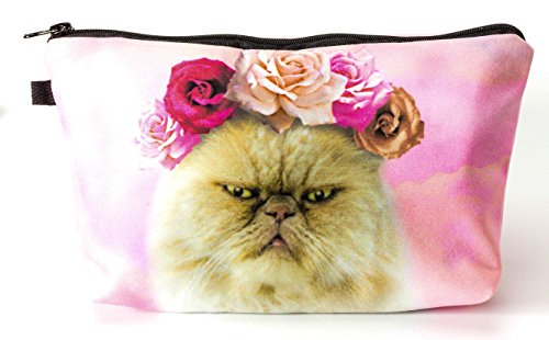 Premium Grumpy Cat Kater Allround Tasche Make Up Kosmetiktasche Kulturbeutel Stiftemäppchen Federmappe Reise Geldbeutel Cosmetic (Katze Up Kinder Make)
