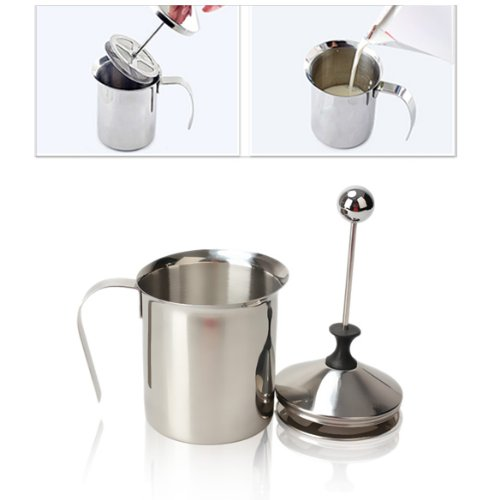 800mL Stainless Steel Handheld Milk Frother Jug with Double Mesh Use To Make Perfect Cappuccinos Lattes and Milkshakes
