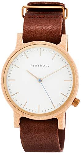 KERBHOLZ Walter Maple/Cognac Uhr Herrenuhr Lederarmband Holz Analog braun Gold