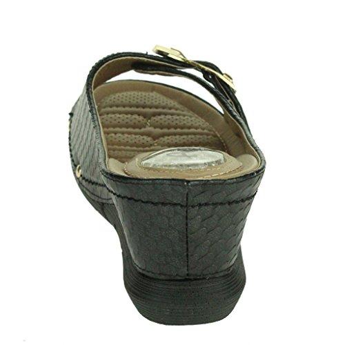 Femmes Dames Rembourré Confort Absorption de choc Flexible Massage Casual Enfiler Talon Compensé Sandales chaussures Taille Noir