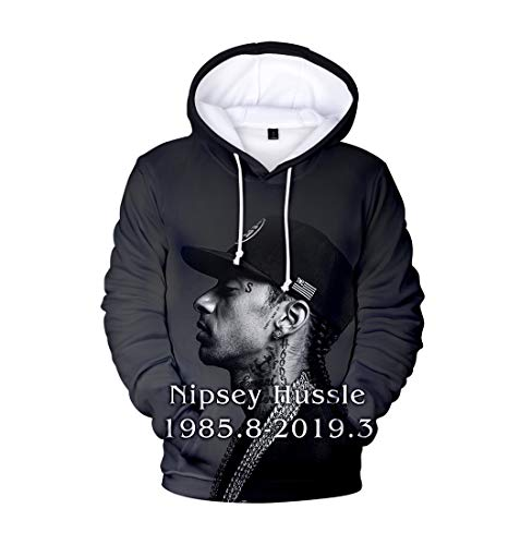 Xsayjia Unisex New 3D Digital Kapuzenpullover American Rapper Nipsey Hussle Kleidung Herbst und Winter Mantel Mode Hip Hop Kapuzenhemd Fronttasche Pullover Jacke Trendy Winter Coats