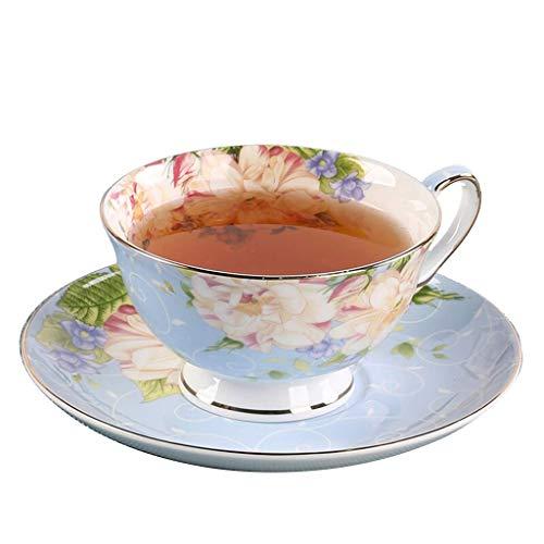 Tayaho Bone China Kaffeetasse und Untertasse Kaffeetasse Set Tee auf Tasse und Untertasse, Golden Garden Teller