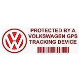 Lot de 5 autocollants de sécurité Platinum Place PPVOLKSWAGENGPSRED pour fenêtre de voiture ou camionnette - Avec avertissement de suivi GPS ROUGE et alarme - 87 x 30 mm