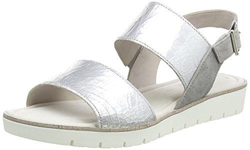 Gabor Shoes Damen Fashion Offene Sandalen mit Keilabsatz, Silber (Silber/Stone 69), 38.5 EU
