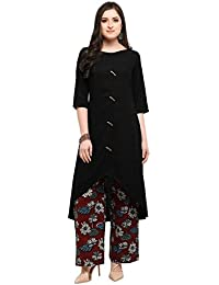 Inddus Black Cotton Rayon Kurta With Palazzo For Party And Festive Wear