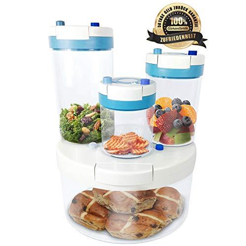 FFS Vakuum Vorratsdosen & Frischhaltedosen mit integrierter Pumpe | 4er-Set | BPA frei & spülmaschinengeeignet | luftdicht & wasserdicht | Aufbewahrungsdose & Vorratsbehälter mit Pumpe