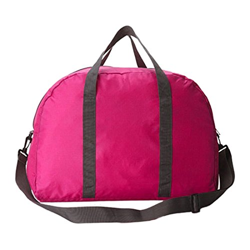 Women Tote Bag - SODIAL(R)Unisex Women Duffle Gym Travel Luggage Suitcase Sports Tote Bag Weekend Handbag Rose red
