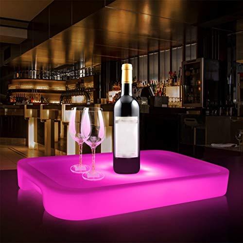 Serviertablett Kunststoff Rechteck 16 Farbe Veränderung Wiederaufladbar Fernbedienung Glühend Tablett zum Party Bar mit Griff (Farbe : Große)