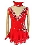 LINGXU Handarbeit Eiskunstlauf Kleid Für Mädchen, Eislaufen Wettbewerb Kostüm Mit Hoher Qualität Kristalle Langärmelige Rollschuhkleid Rot,10
