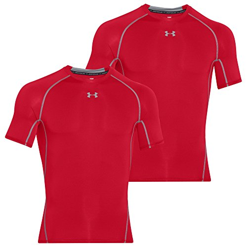 UNDER ARMOUR Herren HeatGear Compression Armour Shortsleeve Tee 2er Pack Rot-Rot 600 - M (Sleeve Short Tee Polyester)
