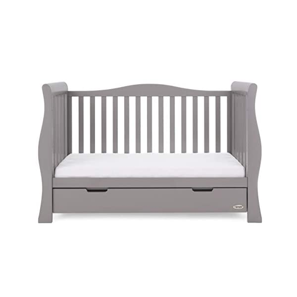 Obaby Stamford Sleigh Luxe Cot Bed - Taupe Grey Obaby Adjustable 3 position mattress height Bed ends split to transforms into toddler bed Includes matching under drawer for storage 11