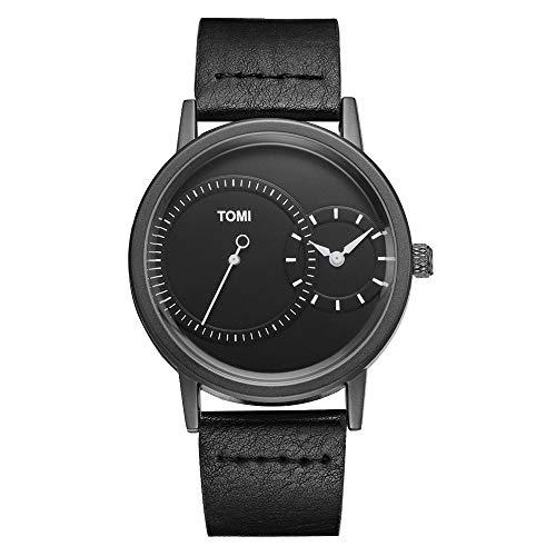 Reloj De Cuarzo para Hombre Cuero Creativo Dial Doble Reloj De Cuarzo Ocio Negocios Simple Reloj