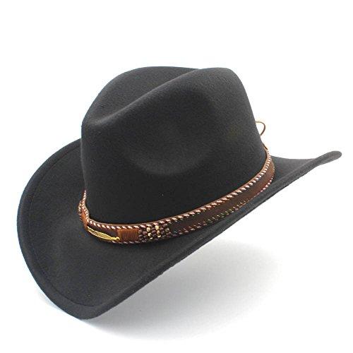 HXGAZXJQ Fashion Damen Herren Westernhut Cowboyhut mit aufrollbarer Krempe Fedora Sombrero Hombre Caps, Schwarz, 55-58 cm